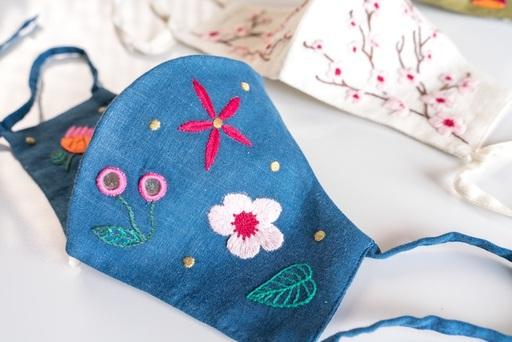 Blue Scattered Floral Face Mask