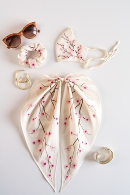 Cherry Blossom Scrunchie+Scarf & Face Mask